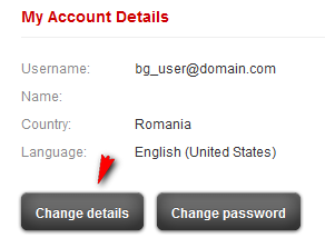 User account details panel